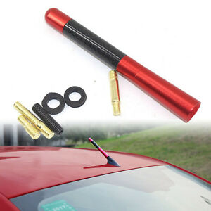 "4.7"" 120mm Red Antenna Aluminum Carbon Fiber Car AM FM Radio Aerial W/ Screw"