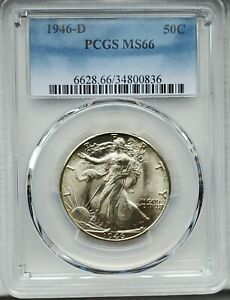 1946 D WALKING LIBERTY HALF DOLLAR PCGS MS 66