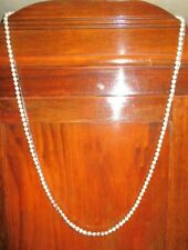 """WHITE HOUSE / BLACK MARKET NECKLACE-LONG DOUBLE STRAND-""""PEARLS"""" / SQUARE GLASS"""