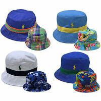 7a16ec7f8bb Polo Ralph Lauren Mens Bucket Hat Solid Reversible Pattern Pony Logo Cap  Prl New
