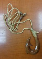 Hawaiian Koa Wood Natural Hand Carved Flower Men Fish Hook Necklace/Chocker