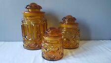 Vintage L. E. Smith Moon and Stars Amber Glass Canister Set Apothecary Jar