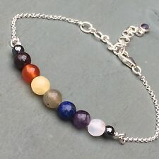 925 Sterling Silver Chakra 9 Bead Bracelet inc GROUNDING Hematite & Iolite charm