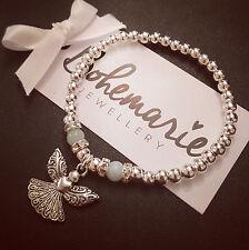 Silver & amazonite beaded guardian angel bracelet gemstone jewellery boho gypsy