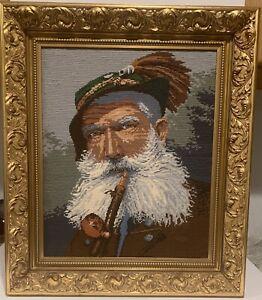 Vintage Germany Gobelin Tapestry Needlepoint Old Fisherman Sailor w/ Pipe Framed