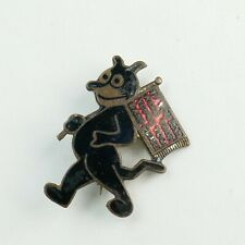 Antique VTG 1920's Silver Brass Enamel Felix Cat Red Flag IF YOU CAN READ THIS
