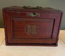 Antique Chinese Mah Jong Game Set 123 Tiles & 95 Sticks W/Box