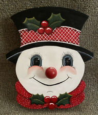 Vintage Snowman Musical Wooden 1980's Turn Nose to play Frosty
