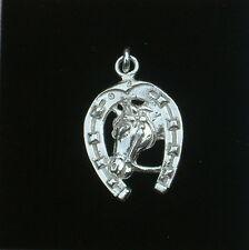 Grande Ciondolo in argento  925  FERRO-TESTA DI CAVALLO PORTAFORTUNA