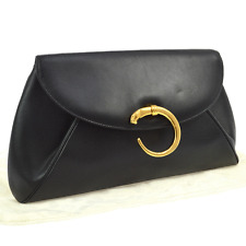 Auth CARTIER Logos Panther Clutch Hand Bag Black Leather Italy Vintage JT05002