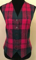 Pendleton Womens Button Down Vest Size 8 Red Blue Green Plaid 100% Virgin Wool