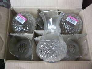 "BOX OF 6 LUMERIC GLASS VASES NEW IN BOX 6"" HIGH"