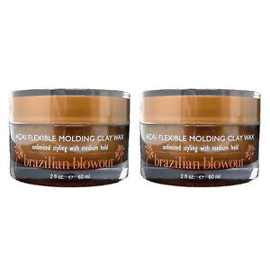 Brazilian Blowout Pro Style Acai Flexible Molding Clay Hair Wax 2 oz (2 PACK)
