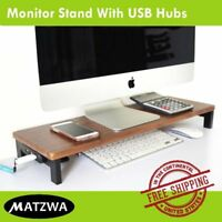 "Computer Monitor Riser w/ USB Hubs LED LCD TV Screen Desk Stand - 2.95"" x 22.8"""