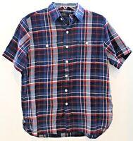 Polo Ralph Lauren Mens Blue Seersucker Plaid S/S Button-Front Shirt NWT Size S