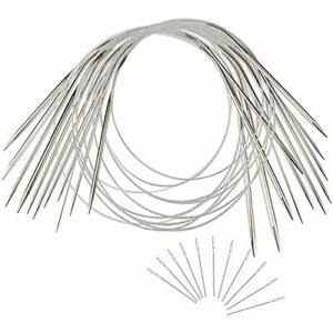 11 Pieces Stainless Steel Circular Knitting Needles Set, Interchangeable