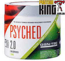 GENTEC PSYCHED 2.0 APPLE 150G PRE WORKOUT 30 SERVES ENERGY PERFORMANCE PUMPS BSC