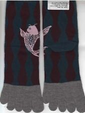 Nagomi Japanese Koi Fish 5 Toe Socks Grey Teal Maroon Ankle Women's Sz 8-11