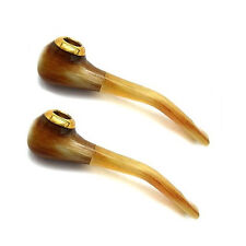 "Two Small OX Horn Brass Cigarette Holder Tobacco Pipe, 3 1/4"", Two-in-One!"