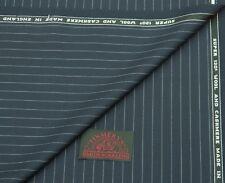 Smith Lana 'antigua' Lana/Cachemira a rayas en azul marino y adaptados a Tela de 3.48 metros