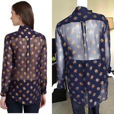 Equipment Femme navy blue rose print silk sheer blouse (s)