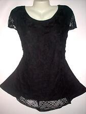 AMERICAN CITY WEAR Plus Size 3X Cap Sleeves Black Floral Lace Hilo Top Blouse