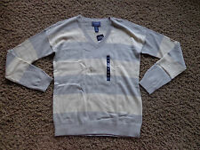 CHAPS women's NWT sz M gray & cream v-neck long sleeve striped knit sweater