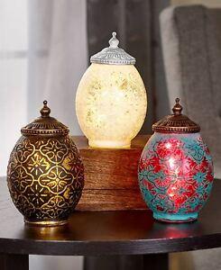 2-Tone Mercury Glass LED Lanterns White Aqua Black Festive Ornament Lanterns