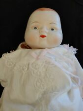 Antique Porcelain Doll 13 inches Ceramic Baby Hand painted in white gown creepy