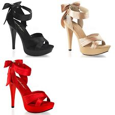 FABULICIOUS Cocktail-568 Black Champagne Red Satin Ribbon Bow Dress Wedding Heel