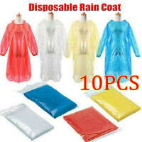 10*Women Men Adult Disposable Emergency Waterproof Rain Coat Poncho Camping Hood