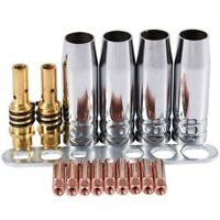 5X(17Pcs/Set 15Ak Mig/Mag Welding Nozzle Contact Tips 0.8X25Mm M6 Gas Conne1X1)
