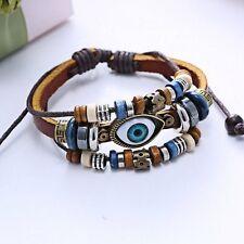 Leather Adjustable New Handmade Punk Unisex Turkish Evil Eye Wristband Bracelet