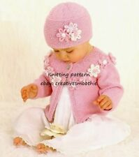 (449) Baby Knitting Pattern - Girls Pretty Cardigan and Hat Set, 0-3yrs