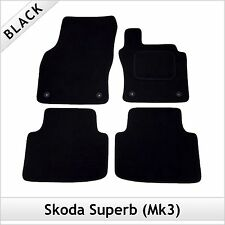 Skoda Superb Mk3 2015 onwards Fully Tailored Fitted Carpet Car Mats BLACK
