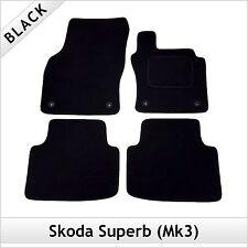 Skoda Superb Mk3 2015 onwards Fully Tailored Fitted Carpet Car Mats BLACK