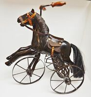 Victorian Horse w Tricycle Carriage Metal Wheels Hand Carved Leather Decorative