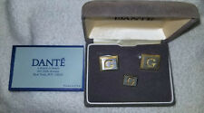 Vintage Dante Men's Initial G Two-Tone Cufflinks & Tie Pin Set in Original Box