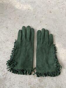 Carolina Amato Green Suede Leather Fringe Gloves Size 8