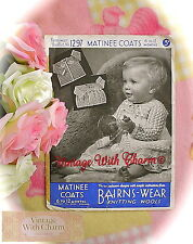 Vintage 1940s Knitting Pattern 3 Styles of Baby Coat Stitches & Motif.