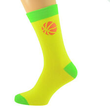 Yellow & Lime Green Unisex Socks with Basketball design UK Size 5-12 X6N597