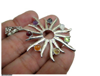 Jet Sun Burst Metal Chakra Pendants Healing Balancing Gemstone Genuine Energy A+