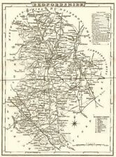 BEDFORDSHIRE. County map. Polling places. Coach roads. DUGDALE 1845 old