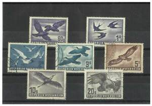Austria 1950-53 Birds Airmail set of 7 Stamps to 20s Scott C54/60 FU 15-14