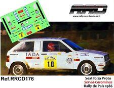 DECAL/CALCA 1/43; Seat Ibiza Bimotor; Servià-Corominas; Rally de Pals 1986