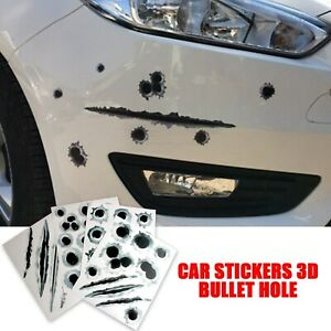 1 * Car Stickers 3D Bullet Hole Auto Motorcycle Scratch Realistic Funny Decal