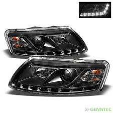 For 2005-2008 Audi A6 DRL LED Projector Blk Headlights Head Lights Lamp Pair