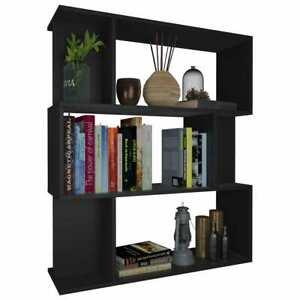 vidaXL Book Cabinet/Room Divider Black Chipboard Bookshelf Bookcase Stand