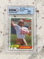 1981 Topps Football #216 Joe Montana 49ers 10 Gem Grading Inc Rookie RC Hot Card