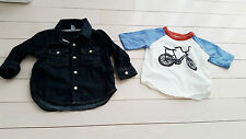 BABY GAP BOY LOT SET OF 2 Bicycle SHIRT & DENIM BUTTON JEANS SHIRT 6-12 MONTHS